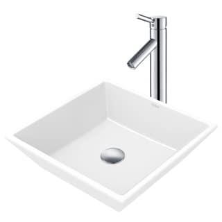 Kraus 3-in-1 Bathroom Set C-KCV-125-1002 White Ceramic Square Vessel Sink, Sheven Single Hole Faucet, Pop Up Drain