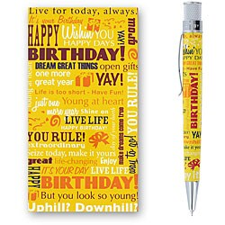 Retro 51 Tornado 'Birthday Greetings' Yellow Rollerball Pen