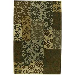 Brown Floral Rug (5' x 8')