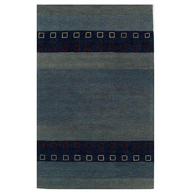 Blue Wool Rug - 5' x 8'