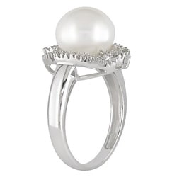 Miadora 14k Gold FW Pearl and 1/8ct TDW Diamond Ring (10 mm)