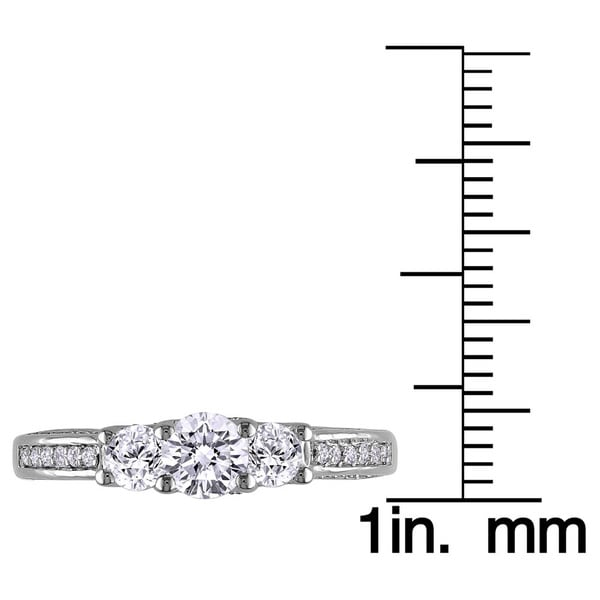 14k White Gold 1 2/5ct TDW Diamond 3-Stone Engagement Ring by The Miadora Signature Collection