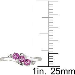 Miadora 10k White Gold Pink Topaz and Diamond Ring