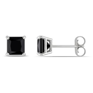 Miadora 14k Gold 1 1/2ct TDW Black Diamond Princess Studs