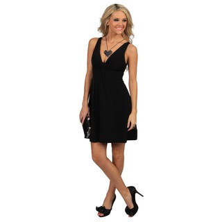 Evanese Women's Polyester and Spandex Short Empire-waist V-neck Dress