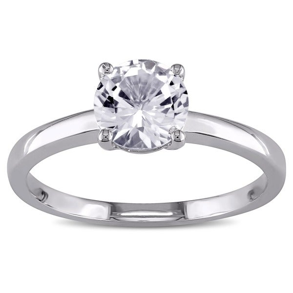 Miadora 10k White Gold Created White Sapphire Solitaire Ring. Opens flyout.