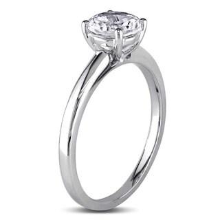 Miadora 10k White Gold Created White Sapphire Solitaire Ring