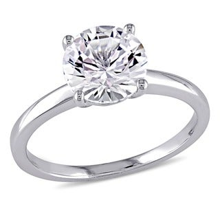 Miadora 10k White Gold Created White Sapphire Solitaire Engagement Ring