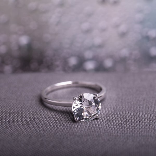 Wedding Ring On Sale.Miadora 10k White Gold Created White Sapphire Solitaire Engagement Ring
