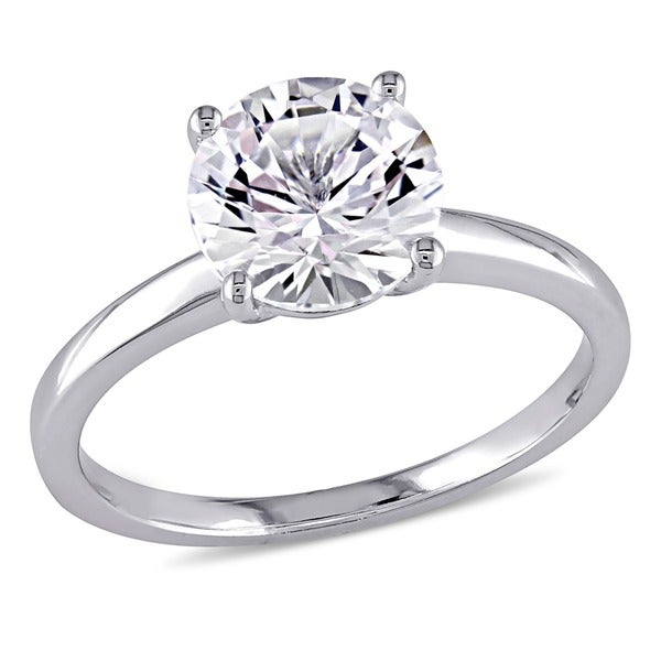 10k White Gold Created White Sapphire Solitaire Engagement Ring by Miadora