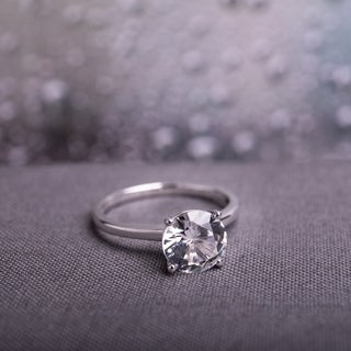 miadora 10k white gold created white sapphire solitaire engagement ring free shipping today overstockcom 12053683 - Wwwwedding Rings