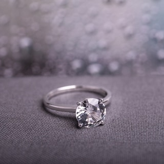 miadora 10k white gold created white sapphire solitaire engagement ring - Wedding Ringscom