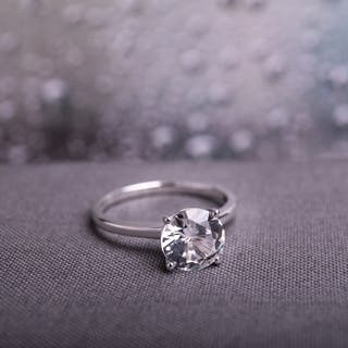 Miadora 10k White Gold Created White Sapphire Solitaire Engagement Ring|https://ak1.ostkcdn.com/images/products/4032165/P12053683.jpg?impolicy=medium