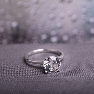 Miadora 10k White Gold Created White Sapphire Solitaire Engagement Ring (More options available)