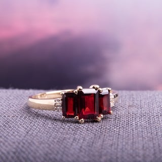 Link to Miadora 10k Yellow Gold Garnet and Diamond 3-stone Ring Similar Items in Necklaces