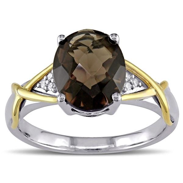 Miadora Silver and 10k Gold Smokey Quartz and Diamond Ring