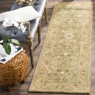 Safavieh Handmade Antiquities Kasadan Olive Green Wool Runner (2'3 x 10')|https://ak1.ostkcdn.com/images/products/4032205/P12053706.jpg?impolicy=medium