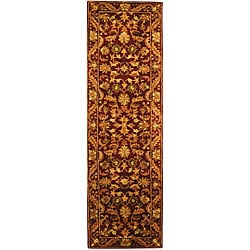 Safavieh Handmade Exquisite Wine/ Gold Wool Runner Rug - 2'3 x 8' - Thumbnail 0