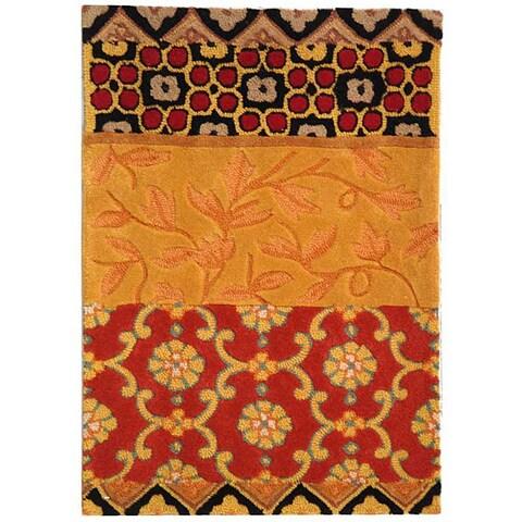 Safavieh Handmade Rodeo Drive Bohemian Collage Rust/ Gold Wool Rug - 2' x 3'