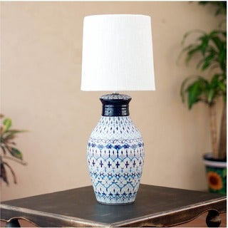 Ceramic 'Festive Blues' Table Lamp (Mexico)