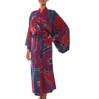 Handmade Women's Batik 'Exotic Blue' Robe (Indonesia)