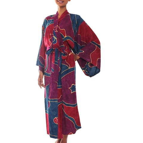 Women's Batik 'Exotic Blue' Robe