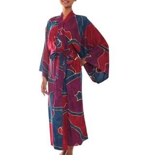 Handmade Women's Batik 'Exotic Blue' Robe (Indonesia)