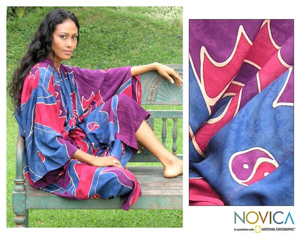 Women's Batik 'Exotic Blue' Robe (Indonesia)