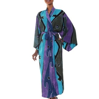 Women's Batik 'Seaside Blue' Robe (Indonesia)