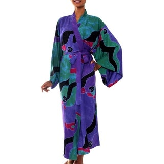 Turquoise Ocean Handmade Artisan Designer Women's Clothing Fashion Lavender Green Purple Black Red Batik Bath Robe (Indonesia)
