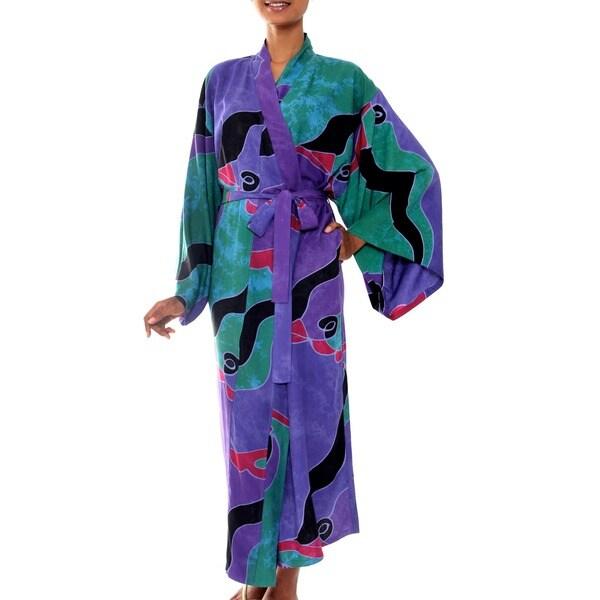 Turquoise Ocean Handmade Artisan Designer Women's Clothing Fashion Lavender Green Purple Black Red Batik Bath Robe (Indonesia)