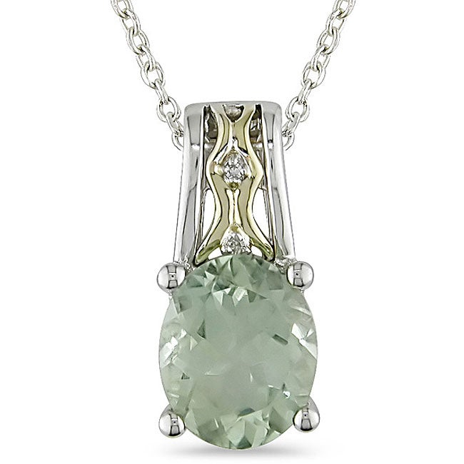 Miadora 10k Gold/ Silver Green Amethyst and Diamond Necklace
