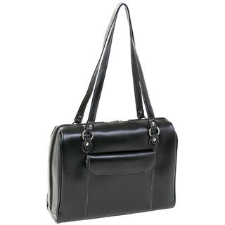 McKlein Black Glenview Italian Leather Laptop Case