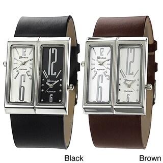Geneva Platinum Men's Dual-face Genuine Leather Watch
