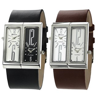Geneva Platinum Men's Dual-face Genuine Leather Watch