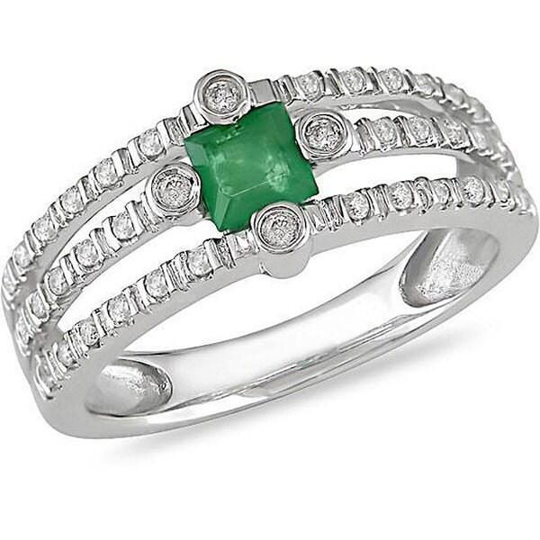 Miadora 14k Gold Emerald and 1/5ct TDW Diamond Ring