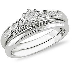 Miadora 14k White Gold 1/4ct TDW Diamond Bridal Rings Set (H-I, I1-I2)
