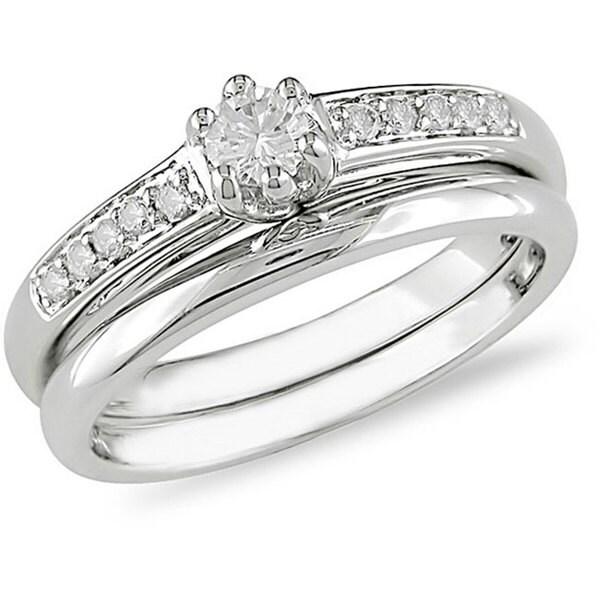 Miadora 14k White Gold 1/4ct TDW Diamond Bridal Rings Set