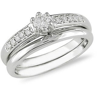 Miadora 14k White Gold 1/4ct TDW Diamond Bridal Rings Set