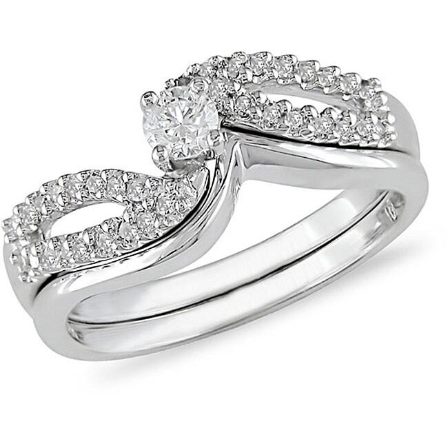 Miadora 14k White Gold 1/4ct TDW Diamond Bridal Rings Set (H-I, I1-I2)