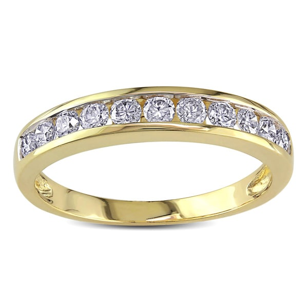 Miadora 10k Yellow Gold 1/2ct TDW Diamond Semi-eternity Band (I-J, I2)
