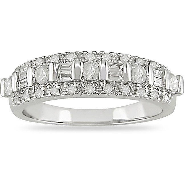 Miadora 10k White Gold 1/2ct TDW Diamond Ring