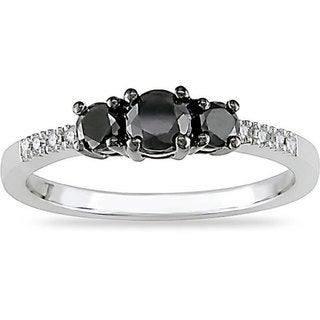Miadora 10k Gold 1/2ct TDW Black and White Diamond Three Stone Ring
