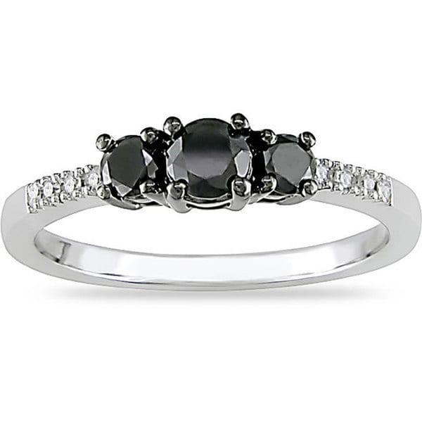 Miadora 10k Gold 1/2ct TDW Black and White Diamond Three Stone Ring