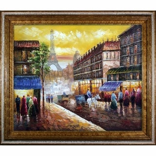 Hand-painted 'Evenings Delight in Paris' Oil on Canvas