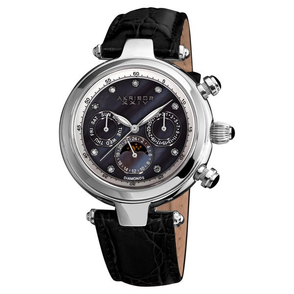 Akribos XXIV Unisex Classique Diamond Automatic Fashion Leather-Black Strap Watch