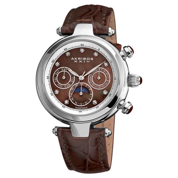 Akribos XXIV Unisex Classique Diamond Automatic Brown Watch
