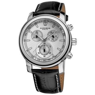Akribos XXIV Coronis Men's Chronograph Quartz Leather Silver-Tone Strap Watch