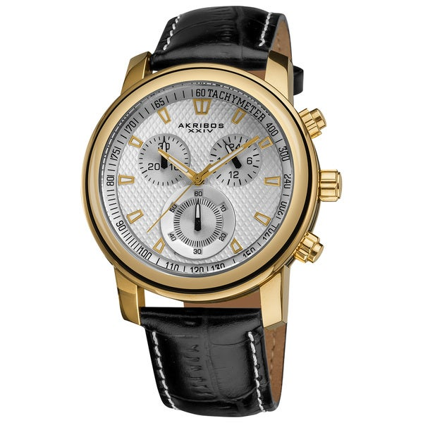 Akribos XXIV Coronis Men's Chronograph Quartz Gold-Tone Strap Watch