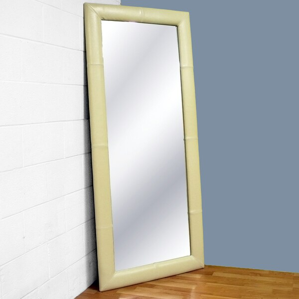 Elayne Cream Bi-cast Leather Floor Mirror